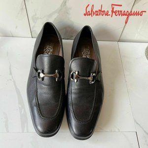 Salvatore Ferragamo Black Gancini Bit Loafer 9 EE